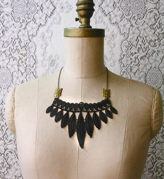 statement necklace, lace collar necklace, TRIBE,  spiky, modern necklace, black necklace