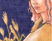 Original ACEO Art Autumn Fall Girl Illustration, Midnight Field, Grass Anime Night Wheat Harvest
