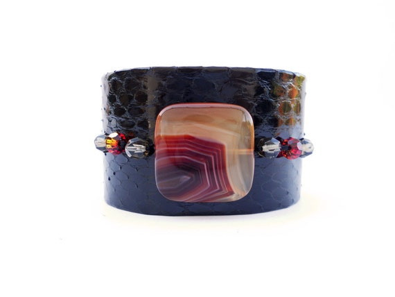 Black Snakeskin Cuff Bracelet with Spider Web Bead