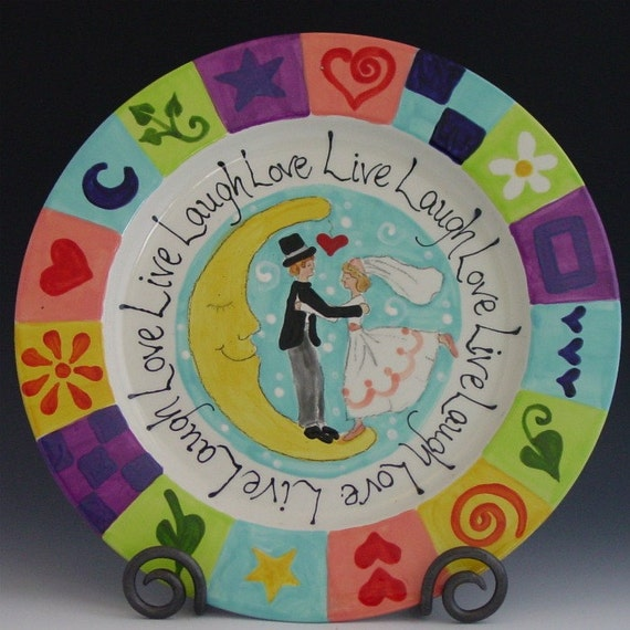 Valentine Plate - Live Laugh Love Plate - Colorful Whimsical Ceramic Pottery for Serving Happy Home Decor Sweet Wedding Gift
