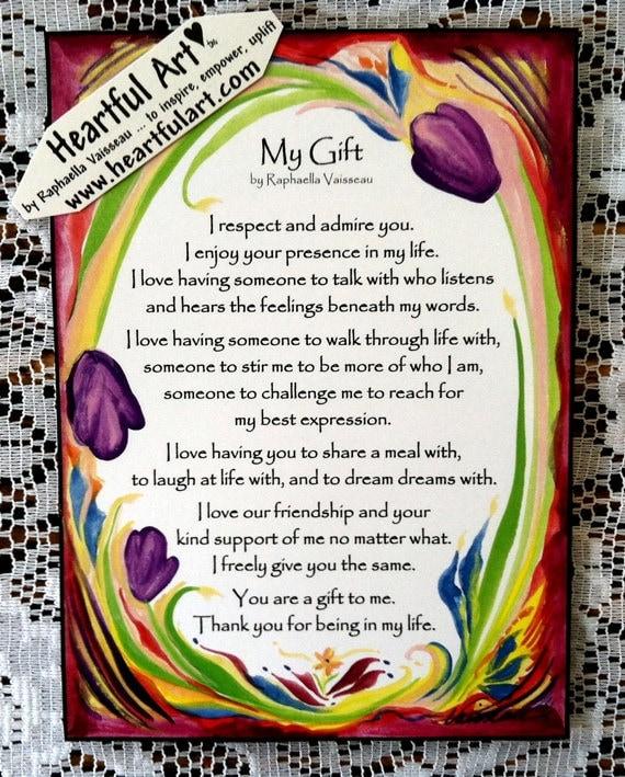 MY GIFT Original Boyfriend Girlfriend Spouse Poetry by Raphaella Vaisseau Inspirational Love Poem Valentine Lovers Friends Gift Heartful Art