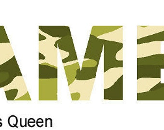 Camouflage Name Wall Decal Camo in Five Different Color Combinations - Greens and Pinks Available SMALL SIZE
