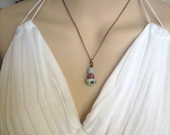 Necklace Pendant Lavender Mint Antiqued Copper Petite Chain Spring Summer