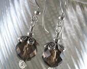 Gemstone Earrings ~ Smoky Quartz & Sterling Silver Earrings ~ Drop Earrings ~ Handmade Earrings