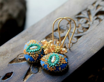 Golden Mystic Quartz cluster earrings with Champagne crystal and clay details - A Bright Sunny day