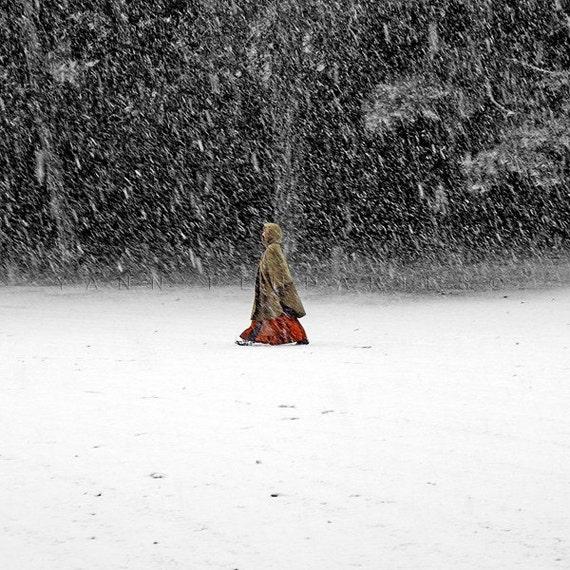 Winter Art, Red Riding Hood, Winter Wonderland, Winter Photography, Snow print, winter photos, red riding, photographydream, yann pendaries
