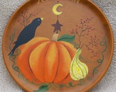 FREE SHIPPING Autumn Harvest Plate by Leslie Berg Primitive Folk-Art Country Prim