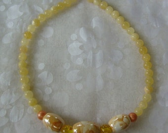 Yellow and Orange Luster & Jade Beaded Necklace