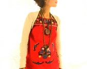 Red Mexican Embroidered Dress Love birds floral bohemian ethnic size xs-S