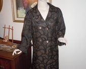 """Vintage 60's Women's Models Coat Rayon Dressy Black- Design  Double Breasted Lined  Large Bust-46"""""""