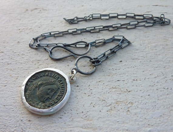Ancient Roman coin necklace ancient coin necklace sterling silver chain Authentic roman coin pendant set in silver