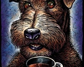 "Wired 8"" x 10"" Wired Haired Terrier with Coffee Cup- Whimsical Dog Art"