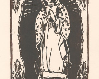 woodblock print Our Lady of Guadalupe / Virgin Guadalupe artwork / original prints / block prints / mother and child