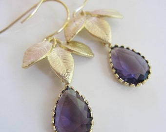 Purple Teardrop Earrings, Gold Leaf Earrings, Purple Glass Pendants, Gold Dangle Earrings, Petite Dangles Bridesmaid Jewelry Weddings