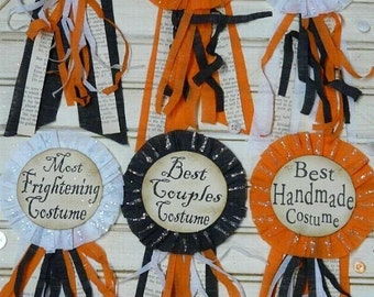 Halloween Party Badges PDF Pattern - 12 designs Pins doll jewelry costume ribbon primitive party