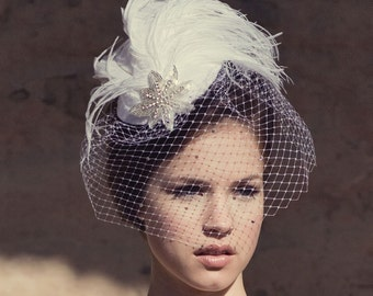 Weddings, Ivory Birdcage Veil, Bridal Hat, Feather Fascinator, Silver Screen Star, Batcakes Couture