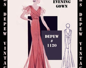 Vintage Sewing Pattern 1930's Evening or Wedding Gown in Any Size Depew 1120 - PLUS Size Included -INSTANT DOWNLOAD-