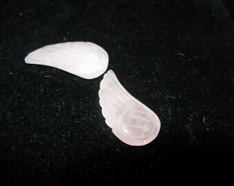 Gemstone WINGS pair --amazonite or rose quartz  Pendants Beads Charms -  Team ESST, OlympiaEtsy, WWWG,  Halloween24/7, Dollmakers