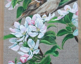 Original Painting - Sparrow in the Apple Tree