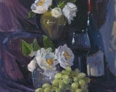 """Sale! Wine art original oil painting on canvas """"Camellias and Wine"""" by Sarah Sedwick 12x12 inches"""