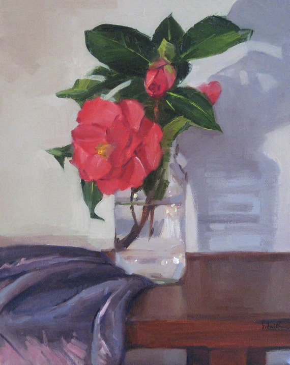 """Art flower painting still life oil on canvas """"Red Camellia and Shadow"""" by Sarah Sedwick 8x10in"""