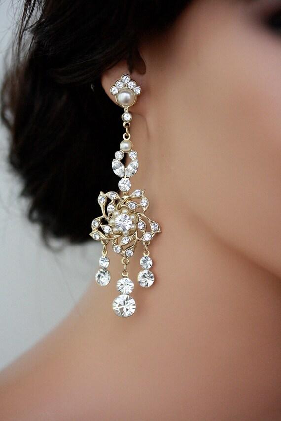 Wedding Earrings Chandelier: Gold Chandelier Bridal Earrings Gold Wedding Earring Vintage Flower Bridal  Earrings Wedding Jewelry. Harlow Deluxe,Lighting
