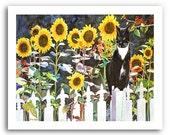 "Tuxedo Cat Fleur de Lis Sunflower Art ""Fleur de Lis Cat"" 11x14"" and 13x19"" Print Signed and Numbered"