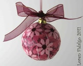Really Pretty Decoupaged and Collage Christmas Ball Ornament in Pale Pink and Wine Colors