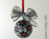 Fun and Funky Decoupaged Collage Christmas Ball Ornament in Black Grey White and Red Colors