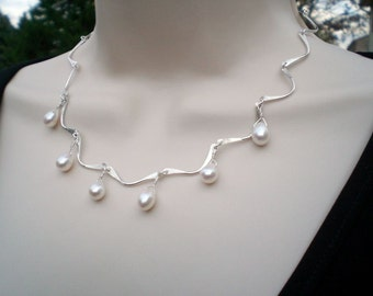 White Freshwater Pearl Drops and with Hand Forged Sterling Silver Scallop Chain; Anniversary Birthday Gift for her; Workplace Jewelry; Ooak