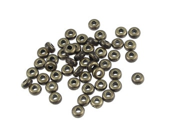 Antique Brass Beads 50 3mm Disk Heishi Spacers Brass Oxide TierraCast (PS268)