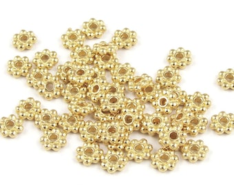 500 4mm Bright Gold Beads Bali Beads Flat Daisy Spacers Heishi Gold Metal Beads by TierraCast Pewter BULK BAG (PS26)
