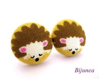 Hedgehog earrings - Brown Hedgehog stud earrings sf695