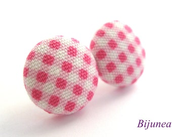 Gingham earrings - Pink gingham stud earrings - Pink gingham posts - Pink gingham studs - Pink gingham post earrings sf777