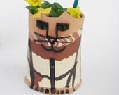 Ceramic Cat :  calico  tortie vase planter pencil holder rustic stoneware    natural earthtone clays