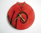 Wall clock: handmade Cat decor vibrant red black whimsical Pottery sale