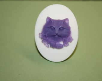 Large Lavender Kitty and Flowers Cameo Ring