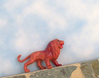 Lion Brooch - Pin / OOAK Fun Gift Under 20 / Upcycled Vintage Red-Orange Lion 3D Toy