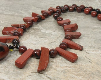 Tribal Necklace, Red Jasper, Boho Jewelry