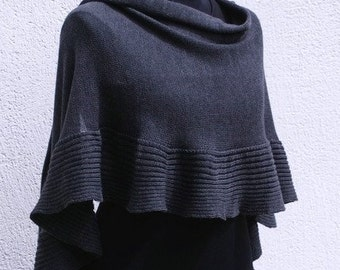 Charcoal shawl chale merino wool modern fashion wrap shrug capelet Dark Gray Grey stole cape  Schal