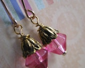 Hot Pink and Gold Earrings, Rose Candy Pink Bicone Earrings