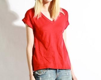 Womens Tshirt Vneck Handmade Shirt Cotton Essential Tee