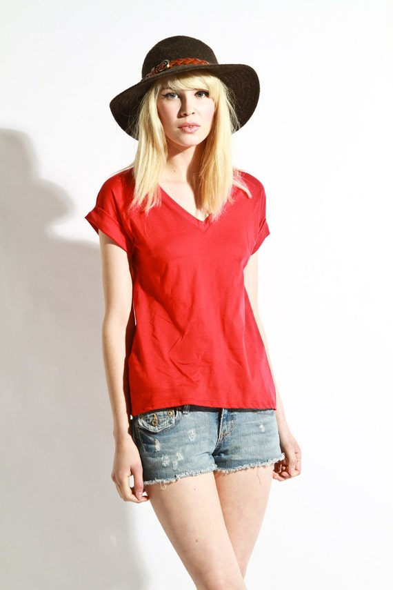 Reserved for strpdsnk Womens Shirt  Vneck Cotton Essential Tee Red large and slouch nylines medium