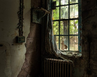 Draped, Abandoned Asylum, Old Curtain by Window, Fine Art Photograph, HDR Color Photography Signed Print.