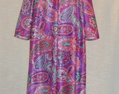 Long Morning Coat House Coat Lounger Zip Front Robe Long Sleeves Purple Coral Lavender and Teal Paisley House Dress Size Large Made In USA