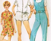 1960s Simplicity 7648 Vintage Sewing Pattern Misses' Jumpsuit, Romper, Scarf Size 10 Bust 32-1/2, Size 12 Bust 34, Size 14 Bust 36