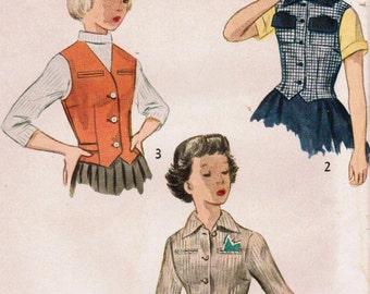 1950s Simplicity 3375 Vintage Sewing Pattern Girl's Weskit, Vest, Jacket Size 10
