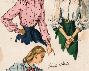 1940s Simplicity 2382 Vintage Sewing Pattern Misses' Blouse Size 12 Bust 30