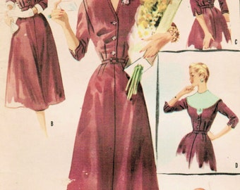 1950s McCall's 3358 Vintage Sewing Pattern Misses' Accessory Dress, Afternoon Dress Size 14 Bust 32