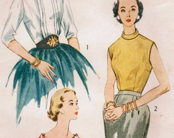 1950s Simplicity 3771 Vintage Sewing Pattern Misses Fitted Blouse Size 12 Bust 30